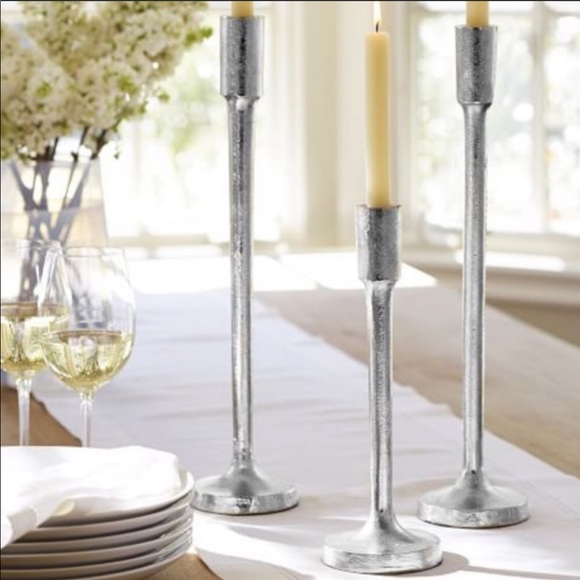 Pottery Barn Cast Iron Silver Taper Holders (3)